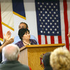 11-8-13  --  Veterans Stand Down event at the VFW post. Judy Dennis, Director of Family Services Association, who was presented with the Community Service Award. She got a standing ovation including the Mayor Greg Goodnight and Ken Fisher, Commander of the VFW Post 1152.<br />   KT photo | Tim Bath