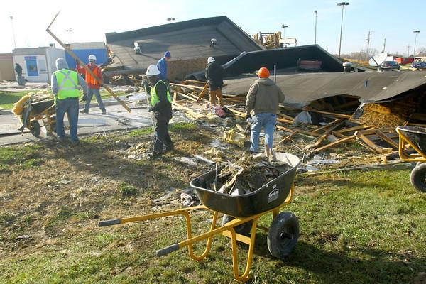 BMO Harris Bank debris being cleaned up.<br />   KT photo | Tim Bath