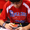 11-9-13<br /> Lego league tournament<br /> Chris Pinto prepares his robot for another mission during the Lego League tournament at Kokomo High School.<br /> KT photo | Kelly Lafferty