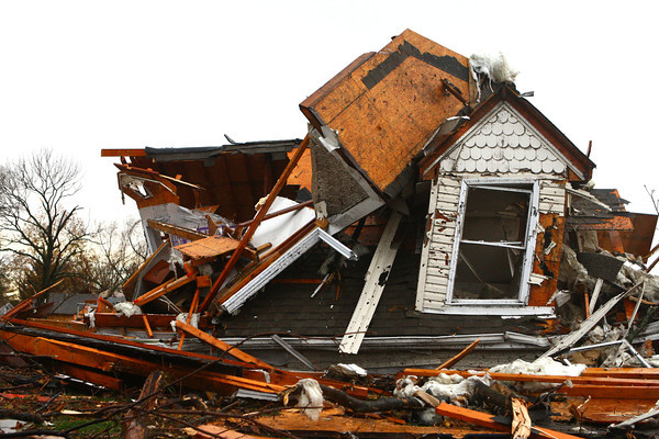 Part of a house sits destroyed at Home Avenue and Hoffer Street.<br /> KT photo | Kelly Lafferty
