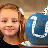 10-20-12 <br /> The Kokomo Parks & Recreation Department hosted at Pumpkin painting event at the Kirkendall Nature Center at Jackson Morrow Park on Saturday.<br /> Darah King, 9, with her Colts painted pumpkin.<br /> KT photo | Tim Bath