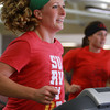 "10-17-12<br /> Breast cancer survivor, Shelly Ruch (left) works out with her friend Tammy Ford as they both run two miles on the treadmill at the Wabash YMCA. They are training for The Flying Pig, a half-marathon in Cincinnati in May. Ruch has run it before, but there's a steep hill she wants to overcome in the race this time around. ""I figure if I beat cancer, I can beat that hill,"" she said.<br /> KT photo 