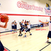 10-14-13  --  Aaron Knupp throwing the ball in with Nick Teeter guarding him during IUK Basketball practice at the new gym behind Memorial Gym.<br />   KT photo | Tim Bath