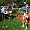 10-14-13  --  Kathy Rocchio has been setting a pair of skelletons up in different poses for the past few weeks in front of her house on West Jefferson Street.<br />   KT photo | Tim Bath