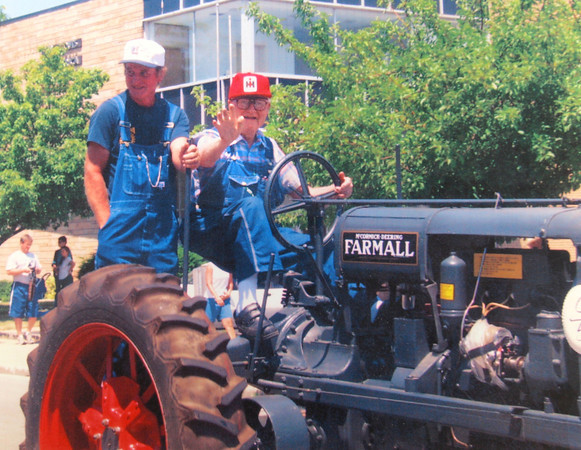 10-2-13  --   Meredith Kingery and his wife June have lived on north Wabash since 1947.<br /> Driving one of his tractors in a parade downtown.<br />   Provided photo