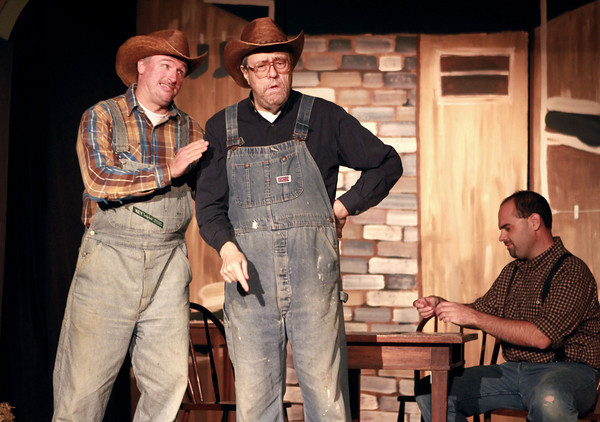 10-4-13<br /> Ole Olsen: Of Mice and Men<br /> Slim, played by Keith Martin, and Carlson, played by Bob Bryan act a scene from Of Mice and Men at Ole Olsen.<br /> KT photo   Kelly Lafferty