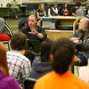 10-31-13  --  Gary Chapman and Aaron Barker talk about their lives as song writers and entertainers with music students at Peru HS on Thursday.<br />   KT photo | Tim Bath
