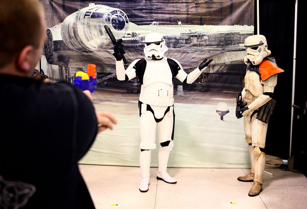 10-19-13<br /> Kokomo-Con<br /> Austin Moore shoots at the stormtroopers with a nerf gun at Kokomo-Con.<br /> KT photo | Kelly Lafferty