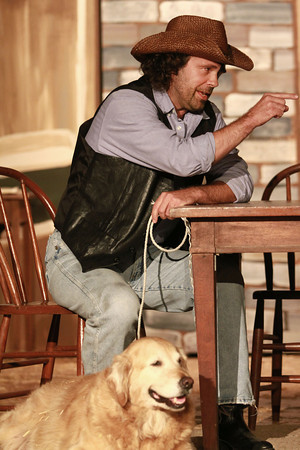 10-4-13<br /> Ole Olsen: Of Mice and Men<br /> Candy, played by Dan Brown, and Daisy the dog perform in the cast of Of Mice and Men at Ole Olsen Memorial Theatre.<br /> KT photo | Kelly Lafferty