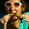 6-13-14 -- Lisa Eidelman eating ribs at Ribfest 2014.    ---<br /> Tim Bath | Kokomo Tribune
