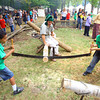 9-20-13  --  Christian Killebrew and Gabriel Wagner from Western Intermediate try a 2 man saw cutting a log at Koh-Koh-Mah & Foster Encampment with 4th graders, about 1700 of them, visiting.<br />    KT photo | Tim Bath