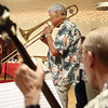 9-1-13<br /> Swampwater Stompers 20th Anniversary<br /> Dan Roberts plays the trombone in Swampwater Stompers.<br /> KT photo | Kelly Lafferty
