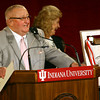 9-18-13  --  IUK Dedication of the Milt and Jean Cole Family Wellness and Fitness Center on Wednesday. Milt Cole, with Jean behind him, jokes as he talks about his family and their gift to the university.<br />    KT photo | Tim Bath