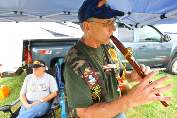9-19-13  --  Annual Vietnam Veterans Reunion. Bill Fredrocl from Muncie and Frank Cheek from Cedar Grove, Tennessee hanging out.<br />    KT photo | Tim Bath