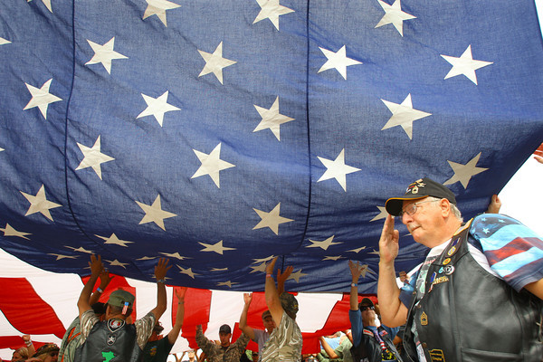 9-19-13  --  Jerry VanCleve of Antwerp, Ohio solutes the flag during the opening ceremonies at the annual Vietnam Veterans Reunion.<br />    KT photo | Tim Bath