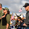 9-21-13<br /> Saturday's Vietnam Vet reunion<br /> Al Bolden, Jerry Stutzman, and John Wrestler, who served in the Navy during World War II, watch the flag as the National Anthem is played during Saturday's Vietnam Veteran reunion.<br /> KT photo   Kelly Lafferty