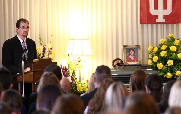9-19-13<br /> Christian Reede funeral<br /> John Roberts, uncle of Christian Reede, speaks at Reede's funeral service on Thursday morning.<br /> KT photo | Kelly Lafferty