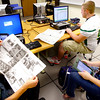 9-13-13  --  Eastern HS students have taken over the publication of the Greentown Grapevine. John Bahler's class is working on the Greentown Grapevine newspaper that has been published for the past 20 years by Rachel Jenkins. Bahler, Brandon Wittman and Kirsten Adair work on different ideas for the publication.<br />    KT photo | Tim Bath