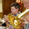 9-1-13<br /> Swampwater Stompers 20th Anniversary<br /> Randy Thrush plays the trumpet in the Swampwater Stompers.<br /> KT photo | Kelly Lafferty