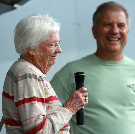 9-28-12<br /> Oktoberfest<br /> 95-year-old Lenore Costello takes the microphone to say a few words to the Oktoberfest crowd after being introduced by Gary McNew.<br /> KT photo | Kelly Lafferty