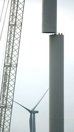 9-17-12 <br /> Wind Turbines being constructed in Madison County near the Tipton County line. Construction will progress toward Tipton and Howard Counties.<br /> KT photo | Tim Bath