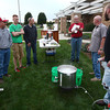 9-20-12<br /> Homebrewing at the library<br /> The group watches as the batch of beer begins to boil during the homebrewing demonstration at the library on Thursday.<br /> KT photo | Kelly Lafferty
