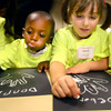9-17-12 <br /> Lets Pretend Hospital at St. Joseph Hospital hosting kindergarten kids from all over the area. Sycamore Elementary kids Dorian Barbary and Deborah Moore drawing their hands and adding bones, like a scelleton, they are told.<br /> KT photo | Tim Bath