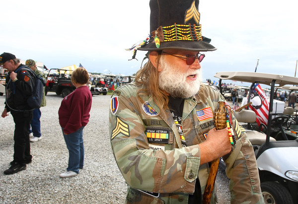 """9-14-12<br /> Vietnam Veterans Reunion<br /> Dale """"Sarg"""" Hill wanders around during his 30th reunion. He has been to every reunion from the get go.<br /> KT photo 