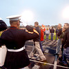 9-21-12 <br /> Sgt. Bradley Atwell's Family receiving a purple heart at the Taylor Football game by the Marine Corp. on Friday. Bradley was killed in Afghanistan last week.<br /> KT photo | Tim Bath