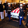 9-29-12 <br /> Funeral for Marine Sgt. Bradley Atwell<br /> Marines line the halls giving a solute to Sgt Atwell as he passes out of the church funeral service.<br /> KT photo | Tim Bath