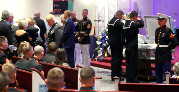 9-29-12 <br /> Funeral for Marine Sgt. Bradley Atwell<br /> Sailors soluting Sgt. Atwell during the viewing at the church.<br /> KT photo   Tim Bath