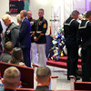 9-29-12 <br /> Funeral for Marine Sgt. Bradley Atwell<br /> Sailors soluting Sgt. Atwell during the viewing at the church.<br /> KT photo | Tim Bath