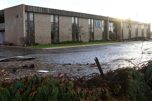 Damage to the HP building near Hoffer Street.<br /> KT photo | Kelly Lafferty