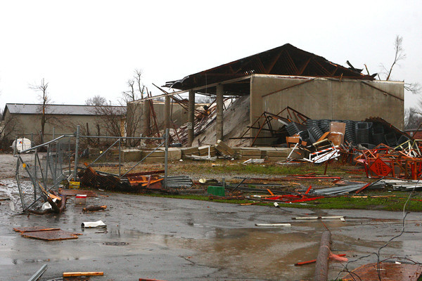 Tornado damage to buildings along Home Avenue.<br /> KT photo | Kelly Lafferty