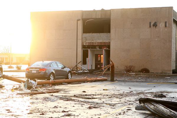 Buildings along Hoffer Street were damaged by Sunday's storms.<br /> KT photo   Kelly Lafferty