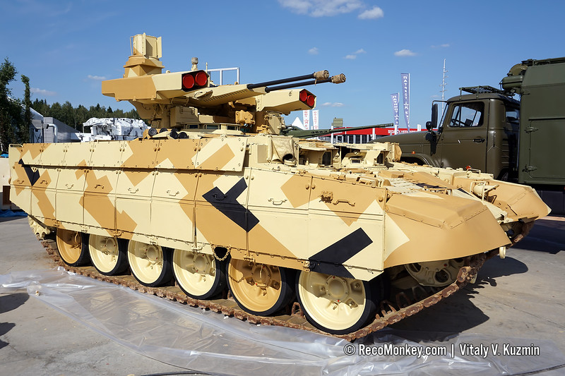 BMPT armored fighting vehicle with parts of BMPT-72 turret