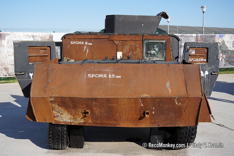 Locally modified HMMWV armored vehicle