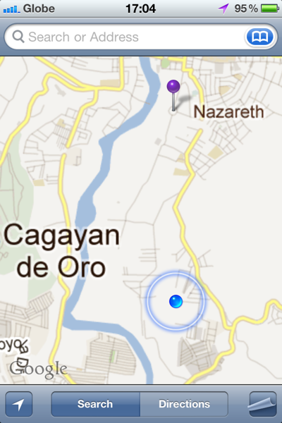 The pin indicates Rodelsa Circle. We live near the blue circle. Although so close to the flooded areas, we were elevated above it high up the river valley. Here in CDO the flooding was deep not widespread as the river valley channelled the huge volume of water to the sea. In Iligan, where the river broke the banks, in low-lying areas, it spread a few kilometres so the effects were more widespread although the water was not so deep.