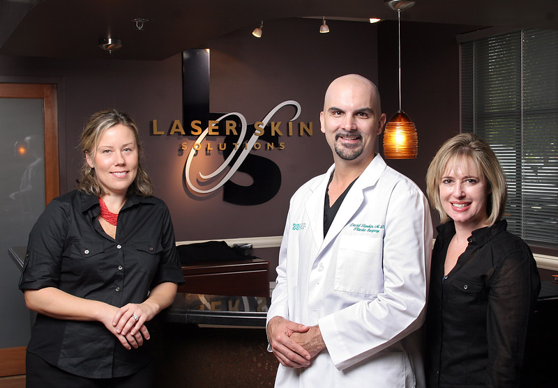 111109 - Laser Skin Solutions advertisment for The Palm Beach Post. (L to R) Kathryn Walton, Account Executive; The Palm Beach Post, David Rankin, MD<br /> Plastic Surgeon; Laser Skin Solutions, and  Karen Lederman Business Partner Laser Skin Solutions.  Photo by Tim Stepien