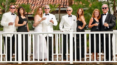 041514 - JUPITER - (L to R) Jeff & Amy Devore, Jennifer& Gary Lesser, Bob Bertisch & Michelle Suskauer, Katie & Jerry Beer.  Legal Aid Society of Palm Beach County Notables cover.  Photo by Tim Stepien