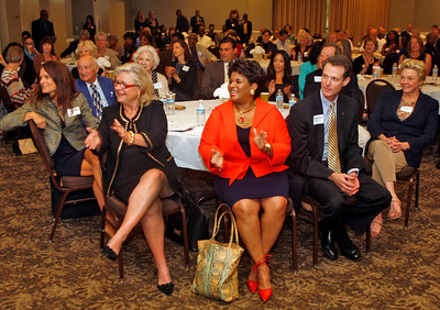 111814 - WEST PALM BEACH - Members of the Quantum Foundation Board of Trustees celebrate with representatives from 66 local nonprofits at yesterday's Quantum in the Community event where the foundation awarded $750,000 in grants to Palm Beach County charities.  Photo by Tim Stepien