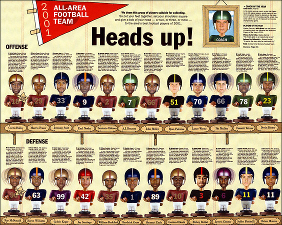 Photo illustration of the 2001 All-Area Football Team.  Twenty-four players and one coach were turned into bobbleheads as a different way of displaying mug shots.  Staff photos and bobblehead construction in Photoshop by Tim Stepien.  Hand drawn shelves by designer Rebecca Vaughan.  Page layout by Sara Franquet.