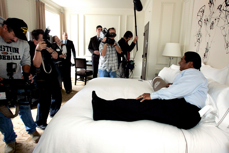 October 17, 2006_San Diego, CA_Tribal Chairman Daniel Tucker, of the Sycuan band of the Kumeyaay Nation, tests the bed in the hotel room where he will stay overnight along with other members of the tribe, during a publicity stunt following the re-opening ceremonies at the U.S. Grant Hotel in downtown San Diego. The tribe spent $52 million on a makeover for the historic property, which they purchased for $45 million in 2003._Mandatory Credit photo by Laura Embry/San Diego Union-Tribune/Zuma Press, copyright 2006 San Diego Union-Tribune