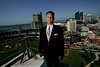 August 18, 2006_Barona, CA_TODD ANSON, managing partner of Cisterra Partners, stands on the 14th floor of the DiamondView Tower, which Cisterra developed for downtown office space. ANSON is also owner of San Diego Surf Dawgs._Mandatory Credit photo by Laura Embry/San Diego Union-Tribune/Zuma Press, copyright 2006 San Diego