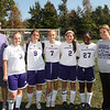 The five Vermilion Varsity players who helped beat Columbia at their last HOME game this season are:  Jessica Nicoll, Katelyn McKenzie, Poppie Carnie, Danielle Smyers and Sonya Burns flanked by Rich Bulan and Head Coach Lindsey Domonkos after their 4-0 game.