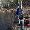 TIM JEAN/Staff photo<br />   <br /> Brady Maggio, 11, of Andover, cast his line into the water during the Andover Sportsmen's Club annual fishing derby at Sudden Pond in Harold Parker State Forest. Behind Maggio, is his friend Spencer Belson, 12, of Andover, and Will Rolander, 10, right, of North Andover.   4/21/18