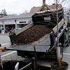 TIM JEAN/Staff photo<br />   <br /> Members of Andover's Department of Municipal Services dump the CU Structural Soil developed by Cornell University before planting a Red Maple tree along Main Street during an Arbor day celebration.  4/27/18