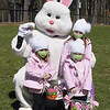 TIM JEAN/Staff photo<br /> <br /> Posing with the Easter Bunny are Gracie Chesna, 5, her sister Kensigton, 2, and her friend Michelins Bertolino, 2, all of Andover, during an egg hunt at Andover's Recreation Park. Participants were given a goody bag with special crafts to be completed at home and also photos taken with the Easter Bunny afterwards.  4/3/21
