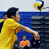 CARL RUSSO/staff photo. Andover's captain, Alex Shih returns the serve. Andover against Haverhill in volleyball action Monday afternoon. 4/30/2018
