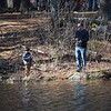 TIM JEAN/Staff photo<br />   <br /> Ed Bottelsen of Stoneham, cast a line for his son Jet, 5,  during the Andover Sportsmen's Club annual fishing derby at Sudden Pond in Harold Parker State Forest.  4/21/18